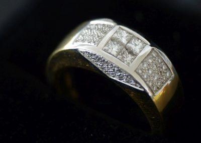 Damenring Gelbgold und Weißgold mit Diamant und Brillant