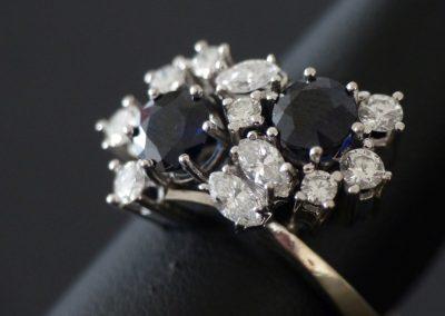 Damenring mit Saphir, Diamant und Brillant